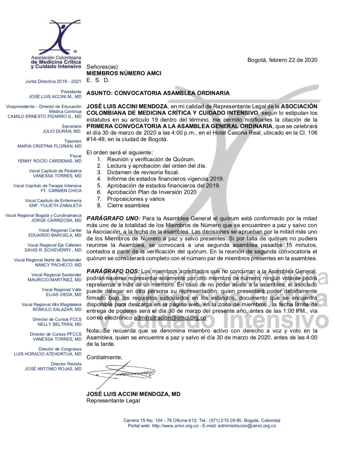 Convocatoria Asamblea General Ordinaria 30 de marzo-2020