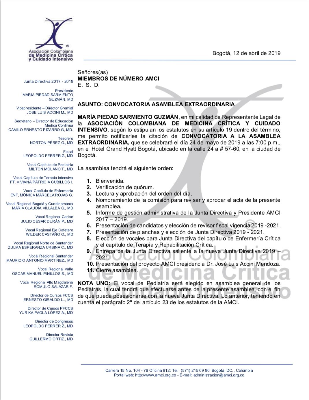 Convocatoria Asamblea extraordinaria AMCI 24 de mayo