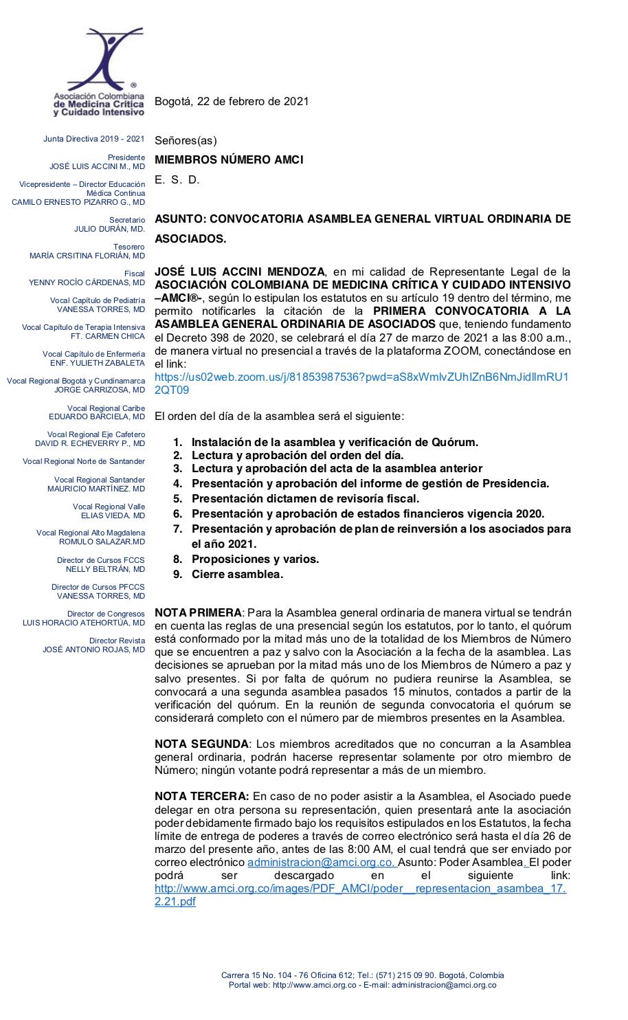 CONVOCATORIA ASAMBLEA GENERAL VIRTUAL ORDINARIA DE ASOCIADOS - 27 de marzo de 2021